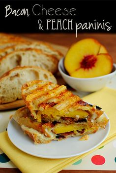 Bacon, Cheese and Peach Paninis are sweet, salty, crispy, cheesy, and crunchy. | iowagirleats.com