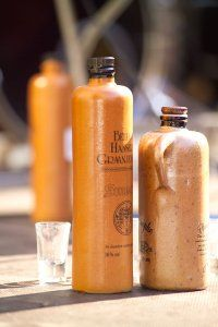 Handcrafted clay genever bottles