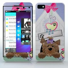 Yorkie Puppy – Girl Little dog with ribbon in a doghouse phone skin sticker for Cell Phones / Blackberry Z10 | $7.95