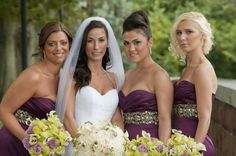 Love the shade of purple and the belts for the bridesmaides!