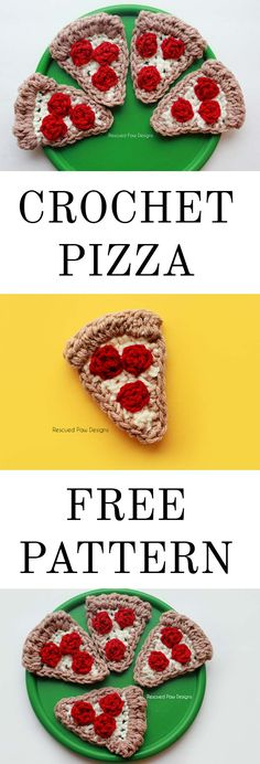 Crochet Pizza Applique Free Crochet Pattern! Make this today for your next party or get together or as a fun add on to any project! Click to Make now or Pin and Save for later! www.rescuedpawdesigns.com