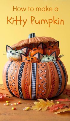 Halloween crafts: How to make a Kitty Pumpkin for Halloween. It's easy to make! If you use a faux pumpkin, you can also reuse this project each year for decoration.