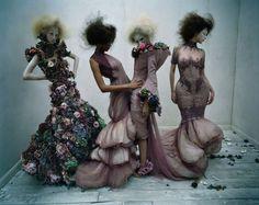 visual optimism; fashion editorials, shows, campaigns & more!: dark angel: aya jones, xiao wen ju, harleth kuusik, yumi lambert and nastya sten by tim walker for uk vogue march 2015