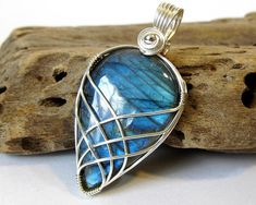Wire Wrapped Stone Sterling Silver Wire Wrapped Pendant