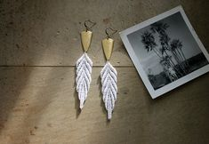earrings // ARTEMIS // white and gold lace / feather / boho / hippie/ tribal / festival / leaf / long earrings
