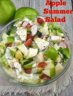 Apple Summer Salad ~ Refreshing salad with Apple, Pineapple and more ~ drizzled with a light Poppy Seed dressing Yummy poppy seed dressing using agave syrup for the sugar Summer Recipes, Great Recipes, Favorite Recipes, Soup And Salad, Pasta Salad, Tortellini Salad, Couscous Salad, Shrimp Salad, Good Food