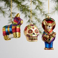 Transform your tree into a festive fiesta with our Mexico-themed ornament set. Packaged in a giftable box, our trio of blown-glass baubles includes a hand-painted piñata, Dia de los Muertos-inspired sugar skull and mariachi Chihuahua.