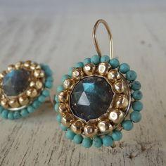 $165 Labradorite Mandala Earrings in 14K Gold Filled  http://www.yifat-bareket.com/store/labradorite-jewelry-1.html/