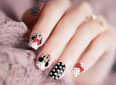 Mickey and Minnie Nail Stickers Real Nail Stickers! Use the alcohol wipe that comes inside of the nail kit, apply the real nail polish stickers, then file the excess. All of our Candied Nail stickers are safe and non-toxic. Cute Nail Art Designs, Square Nail Designs, Disney Nail Designs, Disney Acrylic Nails, Disney Nails, Disney Christmas Nails, Disney Makeup, Purple Nail, White French Nails