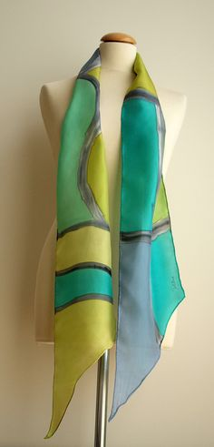 "Hand Painted Silk Scarf. 200x20 cm. Silk Scarf.Hand Painted Silk .Blue scarf. Wedding Gift.Silk belt.Silk Headband.Silk green- blue.78""x7.8"""