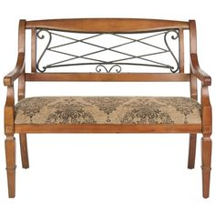 Bathed in the luxurious warm hues of cherry-colored birch wood, the Gramercy bench's soft feminine curves of scrolled wrought-iron are paired perfectly with muted, Old World tapestry-style cotton fabric. It lends an element of unexpected romance to any corner meant for two.