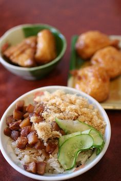 migao ( braised minced pork, fish floss and cucumber over sticky rice). Taiwanese food 台南米糕