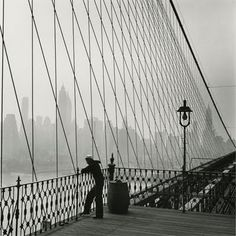 NYC. Sailor on the Brooklyn Bridge, 1950 // by Fritz Henle