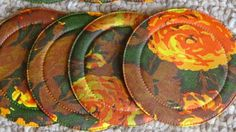 70s, vintage, 8 piece, brown and floral coasters, by JuniperLaneAZ, on Etsy, $5.00