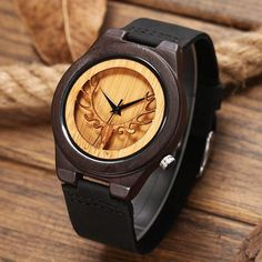 Luxury Brand Fashion Men Bamboo Wooden Watches Black Genuine Leather Strap Buckhorn Dial Male Casual Quartz Watch with Box