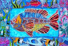 """Underwater Kingdom"" Stained Glass Painting ~ by St. Petersburg artist Iris"