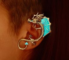 "DRAGON ear cuff clip ""GLOW in the DARK from Papillon9 on Etsy"