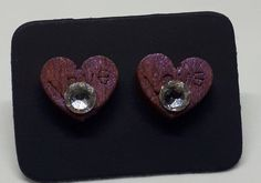 Wood and Swarovski crystal earings Handmade Items, Handmade Gifts, Swarovski Crystals, Heart Ring, My Etsy Shop, Trending Outfits, Unique Jewelry, Check, Earrings