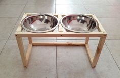 Wood Raised Dog Feeder, Double Dog Feeder, Dog feeding station, Pet Feeder made of spruce wood with two elevated stainless steel food bowls Dog Food Bowl Stand, Dog Food Bowls, Metal Furniture, Modern Furniture, Raised Dog Feeder, Dog Feeding Station, Pet Feeder, Dog Stuff, Dog Food Recipes