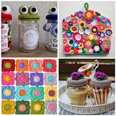 1. Sesamstraat potjes by CreatTinie  2. TeaCosy by Marrose CCC  3. Squares by My World of Wool  4. Purple Flowers by Crochet by Tukta     ...