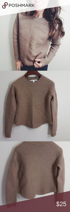 Coffee colored cozy oversized sweater! -C3 In excellent condition! Adorable and warm cozy coffee colored sweater, size large, but smaller sizes can wear as a loose fit sweater! Used item: pictures show any signs of wear. Inspected for quality and wear! Bundle up! Offers always welcome:) Sweaters