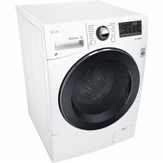LG - 2.3 cu.ft. 14-Cycle Front-Loading Compact Washer and 7-Cycle Dryer Combo with Steam - White - Angle Zoom