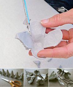 Aprenda a transformar caixas de ovos em uma linda luminária de flores! Uma decoração com reciclagem simples de fazer e muito acessível! Confira!