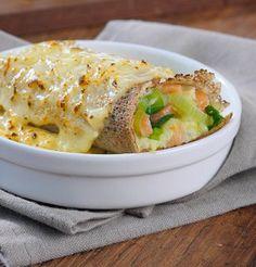 Galette poireau-saumon gratinée au curry