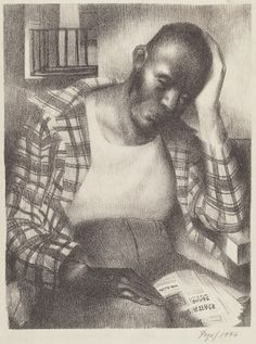 Seymour Fogel (artist)  American, 1911 - 1984  Untitled (Pensive Black Man), 1936 lithograph Image: 283 x 214 mm Sheet: 486 x 321 mm Reba and Dave Williams Collection, Gift of Reba and Dave Williams  2008.115.1807Image