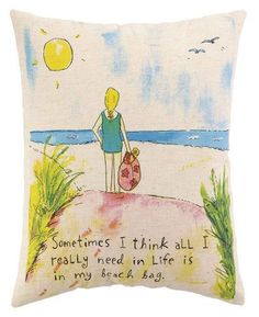"""""""Sometimes I think all I really need in life is my beach bag."""" - 85% Cotton/ 15% Flax - Down fill - Hidden zipper - Plain solid back Dimensions: 14"""" x 18"""" Item number: 24SGR25C18OB"""