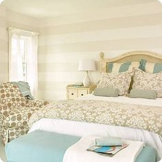 How To Paint Perfect Stripes on Walls--lay down tape, go over it with either 1) the main color of the wall, 2) paintable caulk or 3) matte mod podge, let dry, then paint your stripe color. The above 'seal' the tape, avoiding leakage.