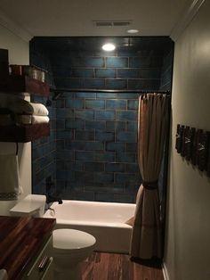 Mediterranean vibe bathroom shower tile - Catania Blue 6 x 12 in Small Closet Redo, Build A Closet, Downstairs Bathroom, Small Bathroom, Bathroom Ideas, Tub To Shower Remodel, Remodel Bathroom, Revere Pewter, Decoration