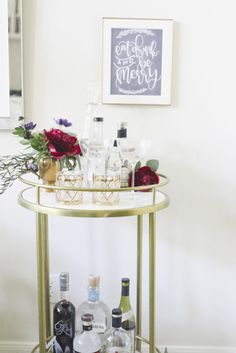 How to Style a Bar Cart Three ways for the Holidays! Plus a FREE printable by Chalkfulloflove!