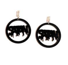 Big Drippy Black SATAN Acrylic Earrings with Silver Rhinestone Earring Posts