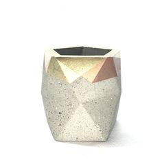 Geometric Concrete Pencil Holder // Pencil Cup // by HelloConcrete Pencil Cup, Pencil Holder, Desk Organization, Concrete, Candle Holders, Copper, Vase, Candles, Unique Jewelry