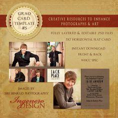 Senior Graduation Invitation Template  Card 5 ID by IngeneroDesign, $7.00
