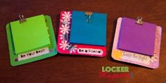 Back To School magnet! It was so fun and easy to make with Post It Notes and binder clips.