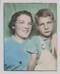 Old Color Photo Booth Photo Mother and Son Overalls Glasses Photograph vintage