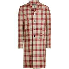 Valentino Virgin Wool Plaid Coat (€3.515) ❤ liked on Polyvore featuring men's fashion, men's clothing, men's outerwear, men's coats, multicolored, mens plaid sport coat and mens red coat