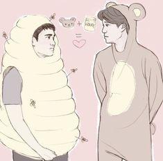 Kaisoo, Chanbaek, Kyungsoo, Chiba, Kpop Fanart, Cute Gay, Asian Boys, Exo, Fan Art