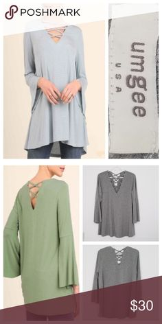 811a8a78df5 Umgee USA Casual Bell Top Tunic Excellent used condition! Solid medium gray tunic  swing top (see second photo). Crisscross on v-neckline. True to size fit.