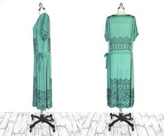 Vintage dress, 1920s, seafoam green, with horizontal bands of beading