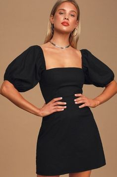 The Lulus Square To Next? Black Puff Sleeve Mini Dress is always up for a sunny day adventure! Square-neck mini dress with elasticized puff sleeves. A Line Mini Skirt, Mini Dress With Sleeves, Cute Dresses, Short Dresses, Summer Dresses, Women's Dresses, Dresses Online, Cute Casual Outfits, Casual Dresses
