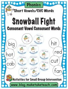 Fun winter-themed activity for learning and practicing CVC words.  Great for centers!