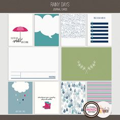 Rainy Days - Journal Cards from Designed by Soco are great for both digital scrapbooking pages as well as pocket scrapping/Project Life.