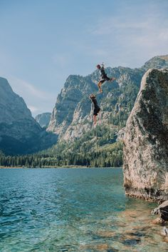 young couple jumping in the water at phelps lake after adventure session Grand Teton National Park, National Parks, Teton Mountains, Whitewater Rafting, Beautiful Stories, Engagements, Bucket, Outfit Ideas, Couple