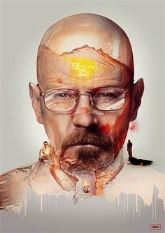 """""""Breaking Bad - Walter White"""" London-based illustrator Adam Spizak created an incredible series of art prints that depict hit television show characters. They are all available to purchase online. Breaking Bad Arte, Affiche Breaking Bad, Breaking Bad Poster, Art And Illustration, Portrait Illustration, Walter White, Poster Series, Art Series, Breking Bad"""