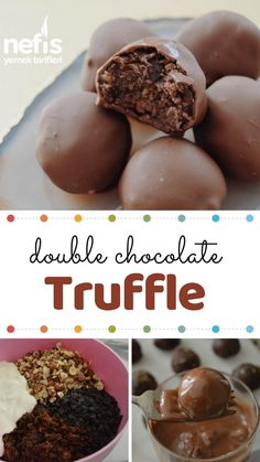 Double Chocolate Truffle - Nefis Yemek Tarifleri - Yemek Tarifleri - Resimli ve Videolu Yemek Tarifleri Healthy Chocolate Cookies, Decadent Chocolate Cake, Mexican Hot Chocolate, Chocolate Truffles, Chocolate Desserts, Fudge Recipes, Cheesecake Recipes, Snack Recipes, Yummy Recipes