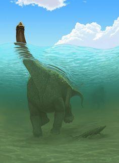 Paralititan in a prehistoric Egyptian river Prehistoric Dinosaurs, Prehistoric World, Dinosaur Fossils, Prehistoric Creatures, Dinosaur Photo, Dinosaur Pictures, Dinosaur Drawing, Dinosaur Art, Reptiles