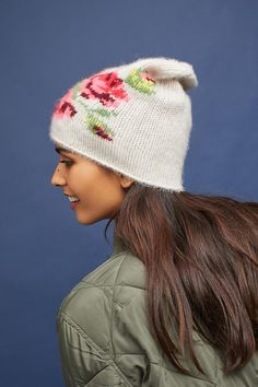 Slide View: 3: Floral Cashmere Beanie
